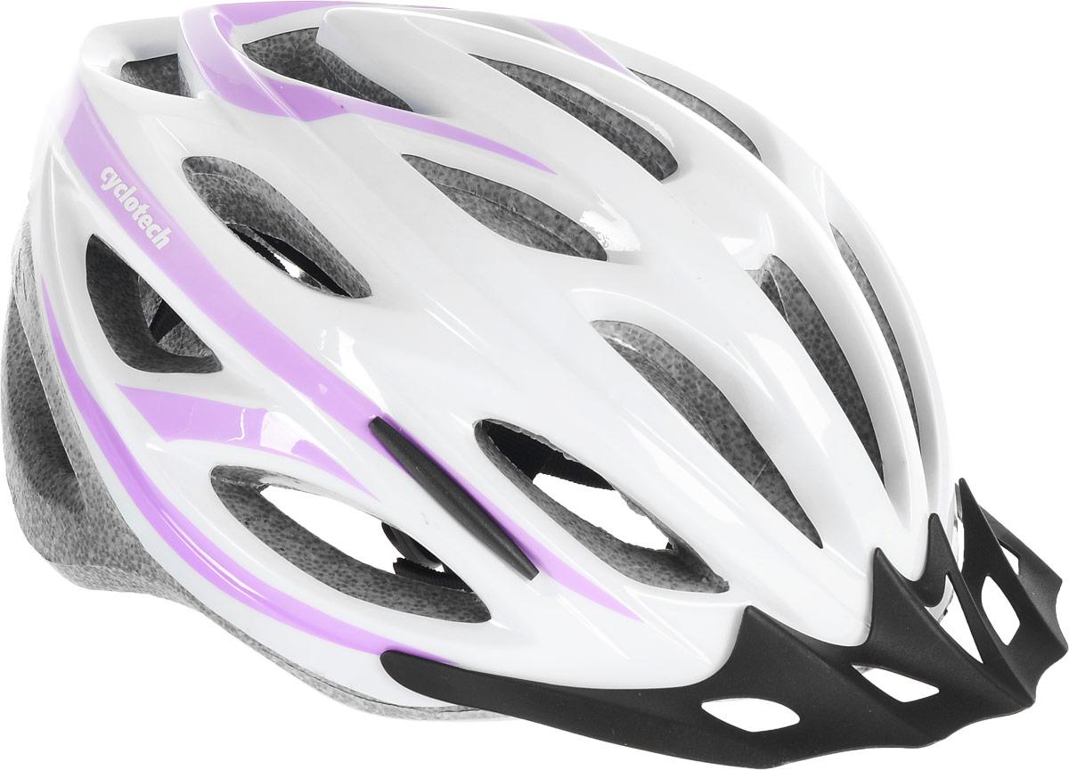 Шлем велосипедный женский Cyclotech, цвет: белый, сиреневый. Размер LCHHY15WЖенский велосипедный шлем Cyclotech изготовлен по технологии OutMold, которая обеспечивает хорошее сочетание невысокой цены и достаточной технологичности. Увеличенное количество вентиляционных отверстий гарантирует отличную циркуляцию воздуха при любой скорости передвижения, сохраняя при этом жесткость шлема. Шлем соответствует международным стандартам безопасности и надежности. Шлем выполнен из прочного вспененного пенопласта.Обхват головы: 55-59 см