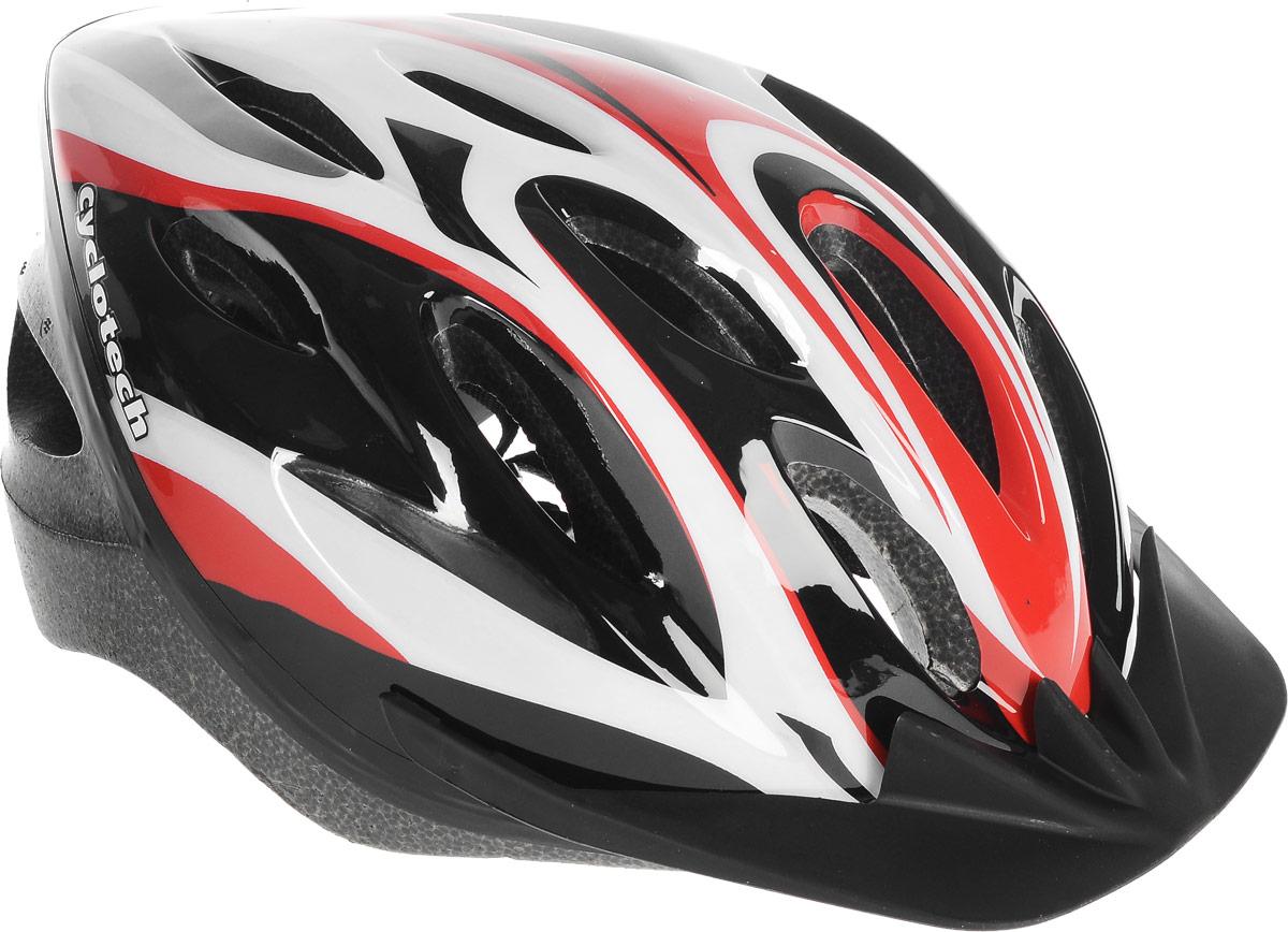 Шлем велосипедный Cyclotech, цвет: черный, красный, белый. Размер LCHLO15UШлем Cyclotech изготовлен по технологии OutMold, которая обеспечивает хорошее сочетание невысокой цены и достаточной технологичности. Увеличенное количество вентиляционных отверстий обеспечивает отличную циркуляцию воздуха на любой скорости при сохранении жесткости шлема. Верхняя часть изделия выполнена из прочного пластика, внутренняя - пенополистирол. Шлем снабжен универсальным внутренним настроечным кольцом и регулируемыми текстильными ремешками. Шлем соответствует международным стандартам безопасности и надежности.Гид по велоаксессуарам. Статья OZON Гид
