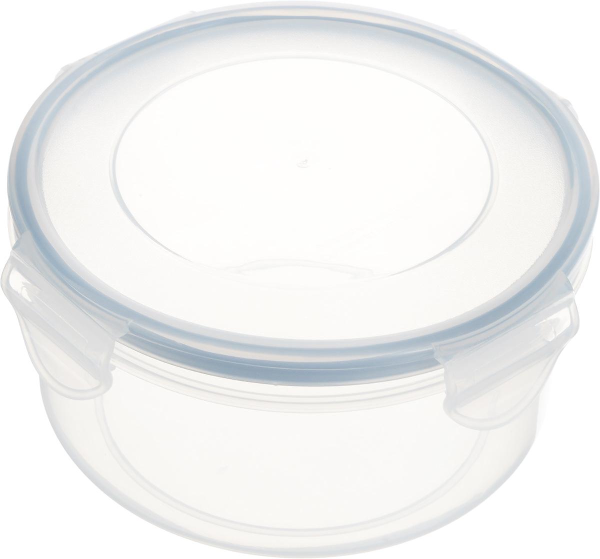 """Круглый контейнер Tescoma """"Freshbox"""" изготовлен из высококачественного пластика. Изделие  идеально подходит не только для хранения, но и для транспортировки пищи.  Контейнер имеет крышку, которая плотно закрывается на 4 защелки и оснащена специальной  силиконовой прослойкой, предотвращающей проникновение влаги и запахов.  Изделие подходит для домашнего использования, для пикников, поездок, отдыха на природе,  его можно взять с собой на работу или учебу.  Можно использовать в СВЧ-печах, холодильниках и морозильных камерах. Можно мыть в  посудомоечной машине. Диаметр контейнера (без учета крышки): 14 см.  Высота контейнера (без учета крышки): 7 см."""