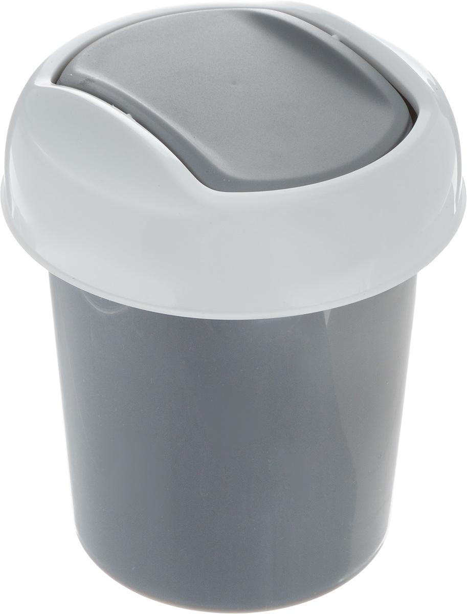 Контейнер для мусора Svip Ориджинал, цвет: темно-серый, белый, 1 л ведро svip ориджинал цвет бирюзовый 12 л