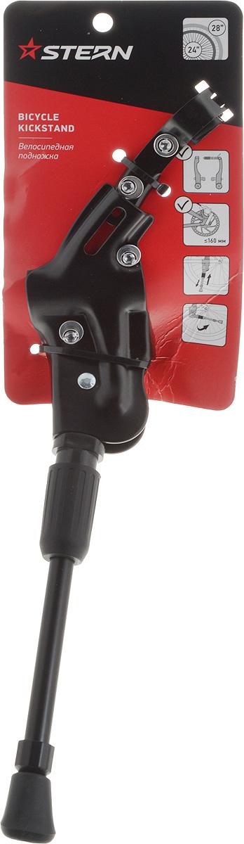 Подножка велосипедная Stern. CKS-1NBKS-05Велосипедная подножка Stern совместима практически со всеми горными велосипедами Stern с диаметром колес 24-28 дюймов. Изделие выполнено из прочного металла, на конце пластиковая насадка, не царапающая поверхность. Длина подножки: 33 см. Инструмент (гаечный ключ на 5 мм) в комплект не входит.