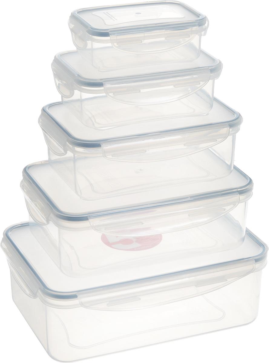 Набор контейнеров Tescoma Freshbox, 5шт. 892094892094Набор Tescoma Freshbox состоит из 5 контейнеров, которые изготовлены из высококачественного пластика. Изделия идеально подходят не только для хранения, но и для транспортировки пищи. Контейнеры имеют крышки, которые плотно закрываются на 4 защелки и оснащены специальными силиконовыми прослойками. Поэтому контейнер подходит для хранения не только пищи, но и жидкости. Изделие подходит для домашнего использования, для пикников, поездок, отдыха на природе, его можно взять с собой на работу или учебу. Можно использовать в СВЧ-печах, холодильниках, посудомоечных машинах, морозильных камерах.Размер контейнера на 0,2 литра (без учета крышки): 11,5 х 8 x 3,5 см.Размер контейнера на 0,5 литра (без учета крышки): 14,5 х 10 x 4,5 см.Размер контейнера на 1 литр (без учета крышки): 17,5 х 12 x 5,5 см.Размер контейнера на 1,5 литра (без учета крышки): 20,5 х 14 x 6,5 см.Размер контейнера на 2,5 литра (без учета крышки): 24 х 17 x 7,5 см.