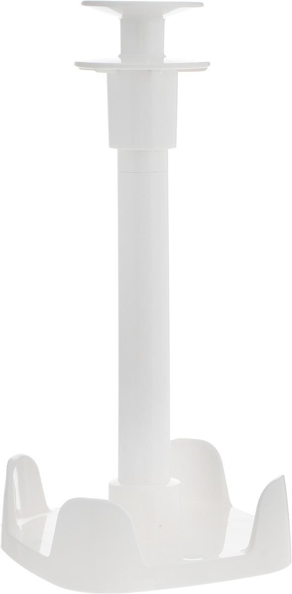 Держатель для бумажных полотенец Tescoma Clean Kit, высота 28 см900704Держатель Tescoma Clean Kit предназначен для стильного хранения бумажныхполотенец в рулонах. Выполнен из высококачественного пластика. Подходит дляобычных и широких рулонов. Основание изделия оснащено прорезиненныминожками, которые предотвращают скольжение. Нажав на ручку держателя высможете легко оторвать полотенце. Бумажные полотенца не входят в комплект.Размер основания держателя: 13,2 х 13,2 см. Высота держателя: 28 см.