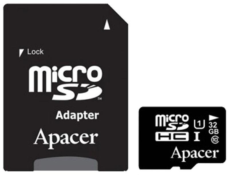 Apacer microSDHC Class 10 UHS-I 32GB карта памяти с адаптером - Карты памяти