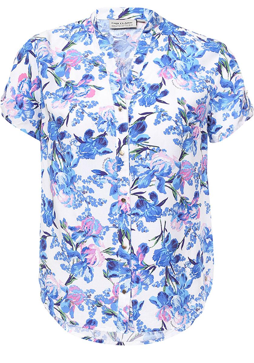 Блузка женская Finn Flare, цвет: белый. S17-11069_201. Размер XL (50)S17-11069_201Блузка женская Finn Flare выполнена из 100% вискозы. Модель с V-образным вырезом горловины и короткими рукавами.