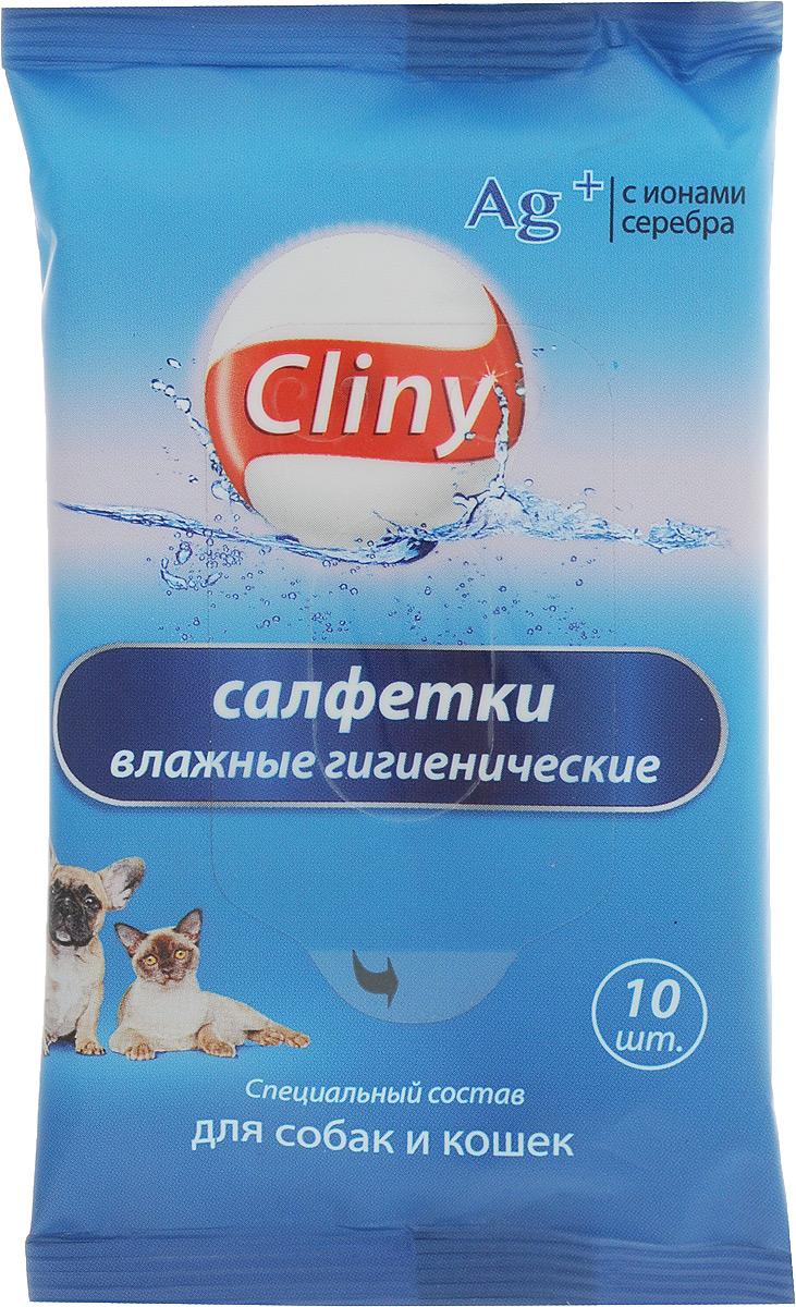 """Салфетки влажные для собак и кошек """"Cliny"""", 10 шт"""