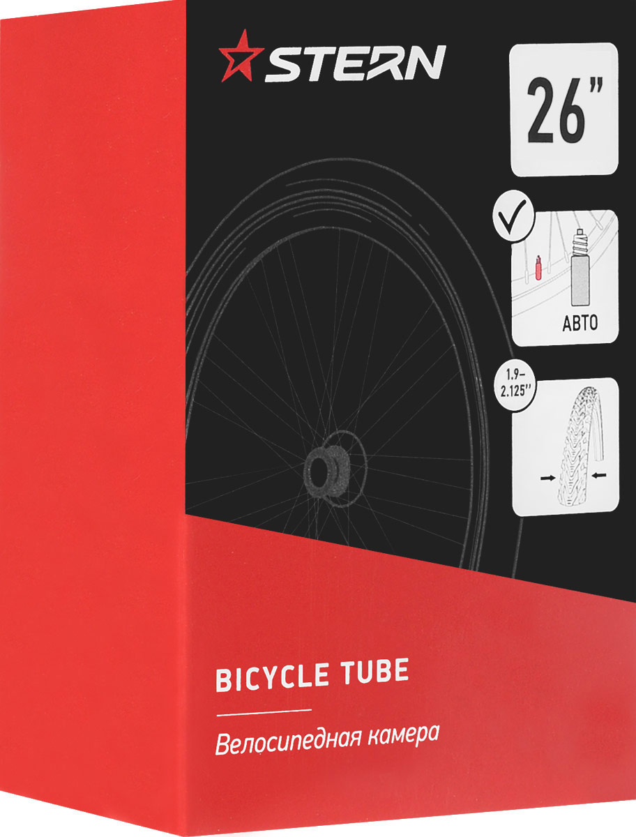 Камера велосипедная Stern, с автониппелем, диаметр колеса 26BTI-62Камера Stern выполнена из резины и предназначена для колеса шоссейного велосипеда. Камера имеет автомобильный ниппель.Ширина шины: 1,9-2,125.Диаметр колеса: 26.