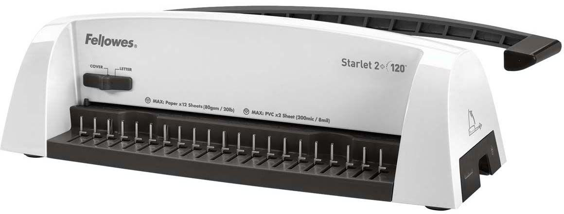 Fellowes Starlet 2 + переплетчикFS-52279Переплетчик предназначен для использования в небольшом или домашнем офисе. Максимальное количество листов в брошюре - 120, что соответствует пружине 16 мм.Количество перфорируемых листов увеличилось на 2 и теперь составляет 12 листов. Перфорация не представляет никакого труда благодаря использованию удлиненной ручки под удобный хват ладони.Основные характеристики:Кол-во сшиваемых листов: 120 шт.Кол-во пробиваемых листов: 12 шт.Диапазон диаметра пружины: 6-16 мм.Гарантия: 2 года.Брошюровщик оснащен технологиями, которые ускорят и упростят переплет документов:Автоматические створки лотка для отходов: При переполнении лотка для отходов створка лотка автоматически открывается, что сигнализирует о необходимости его опустошения.Селектор формата: Точное выравнивание листов различных форматов по краю.Селектор диаметра пружин и толщины документа: Простой подбор пружины по толщине документа.