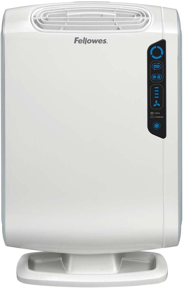 Fellowes Aeramax DB55 воздухоочистительFS-94018Воздухоочиститель для семей с маленькими детьми DB5/DB55, предназначен для помещений до 8/18 м2Воздухоочиститель Fellowes AeraMax DB55 (fs-9401801) предназначен для эффективной очистки воздуха в помещении площадью до 8м2.Воздух проходит 4 степени очистки, что позволяет значительно улучшить качество воздуха внутри помещений, удалив 99.97% загрязняющих частиц. Угольный фильтр удаляет запахи, химические загрязнения и крупные частицы, переносимые по воздуху.True HEPA фильтр задерживает 99.97% частиц размером от 0.3 микрон, включая споры плесени, пыльцу растений, пылевых клещей, большинство бактерий, аллергенов и сигаретный дым.Антибактериальная обработка AeraSafe™– встроенная защита от роста бактерий, вызывающих неприятный запах, плесени и грибков на фильтре True HEPA.Технология PlasmaTRUE™ безопасно удаляет содержащиеся в воздухе загрязняющие вещества, мгновенно нейтрализуя вирусы и микробы.Воздухоочиститель прост в работе и обладает удобным пользовательским интерфейсом. В режиме работы АВТО, датчики оценивают изменения качества воздуха в помещении, на основании чего устанавливается соответствующий режим очистки.Отличительной особенностью данной модели является возможность блокировки настроек и ночной режим работы, позволяющий снизить яркость светодиодов на 70%.
