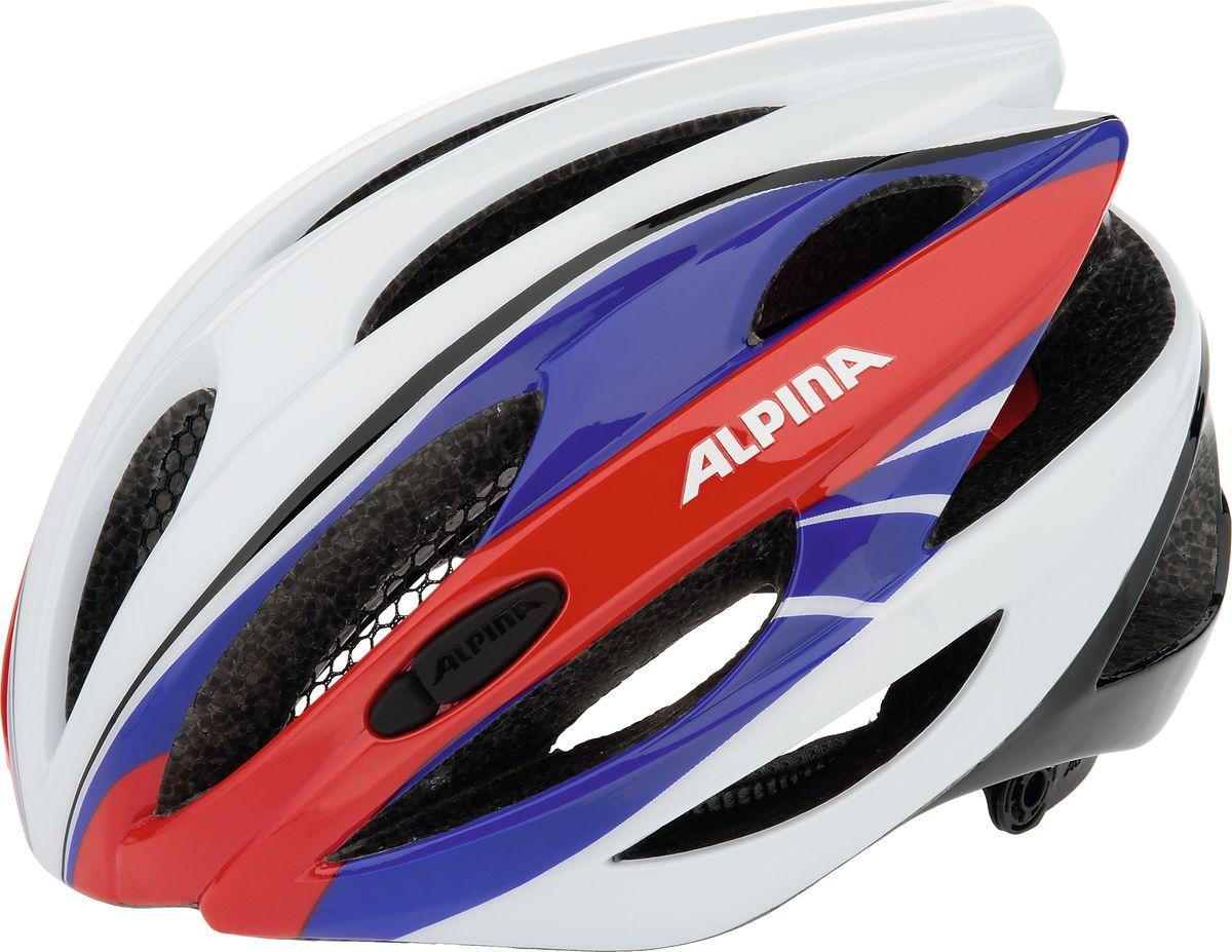 Шлем летний Alpina Cybric, цвет: красный, синий, белый. Размер 53-57A9664117Правильный комфортный шлем Alpina Cybric для велотуризма. Удобная мягкая регулировка размера.