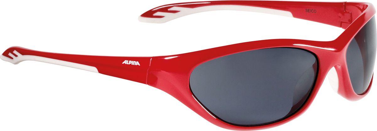 Очки солнцезащитные Alpina Seico, цвет: красный, белый. 84444518444451Детские солнцезащитные очки Alpina Seico предназначены как для езды на велосипеде, так и для многих других видов спорта.Прорезиненная гибкая перегородка для носа обеспечивает надежную фиксацию, а высококачественные линзы с ударопрочным керамическим покрытием защищают от ультрафиолетового излучения. Степень защиты: S3.