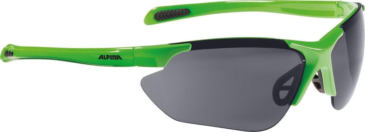 Очки солнцезащитные Alpina Jalix, цвет: зеленый, черный. 85604718560471Солнцезащитные очки Alpina Jalix предназначены как для езды на велосипеде, так и для многих других видов спорта.Прорезиненная гибкая перегородка для носа и силиконовые наконечники на душках обеспечивают надежную фиксацию, а высококачественные керамические линзы обеспечивают защиту от ультрафиолетового излучения. Степень защиты: S3.