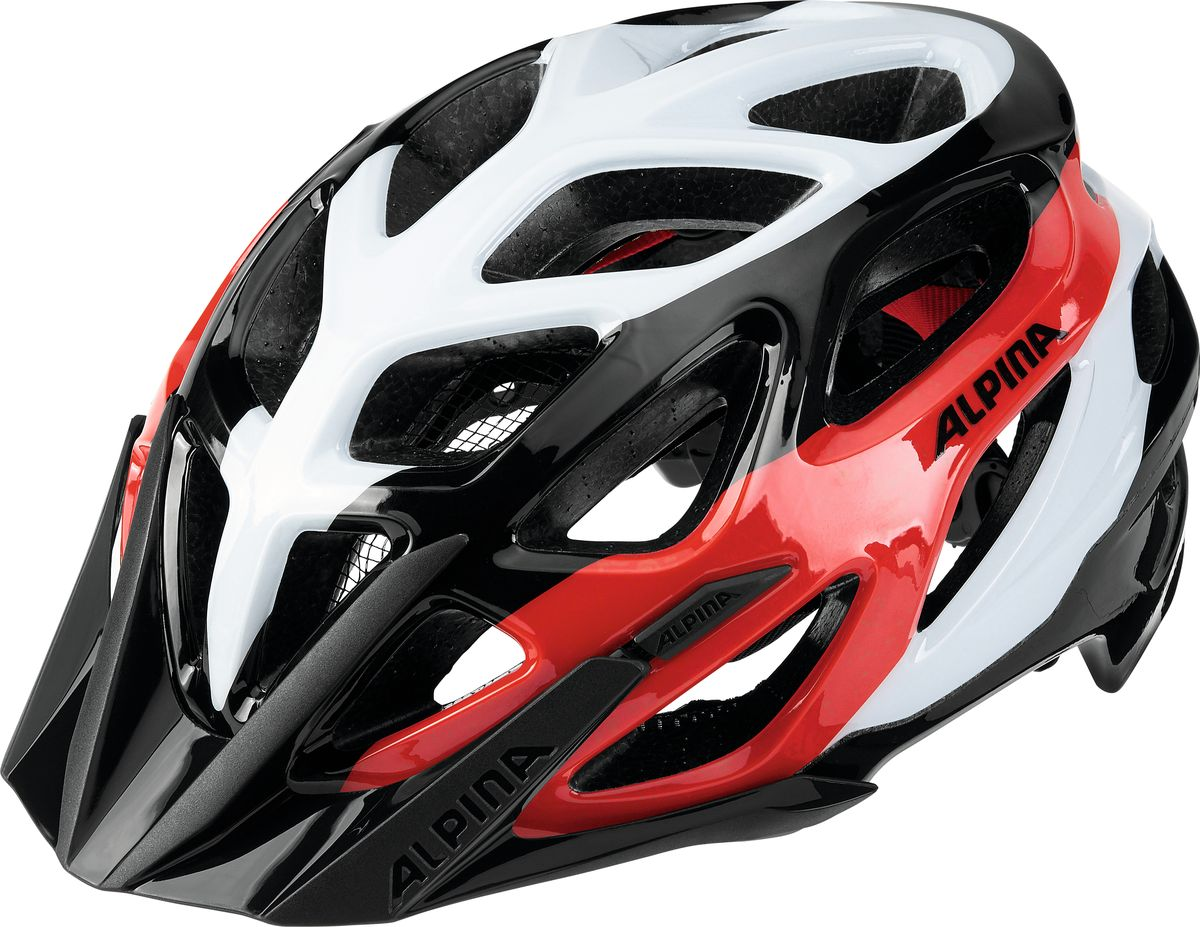 Шлем летний Alpina Mythos 2.0, цвет: черный, белый, красный. Размер 52-57