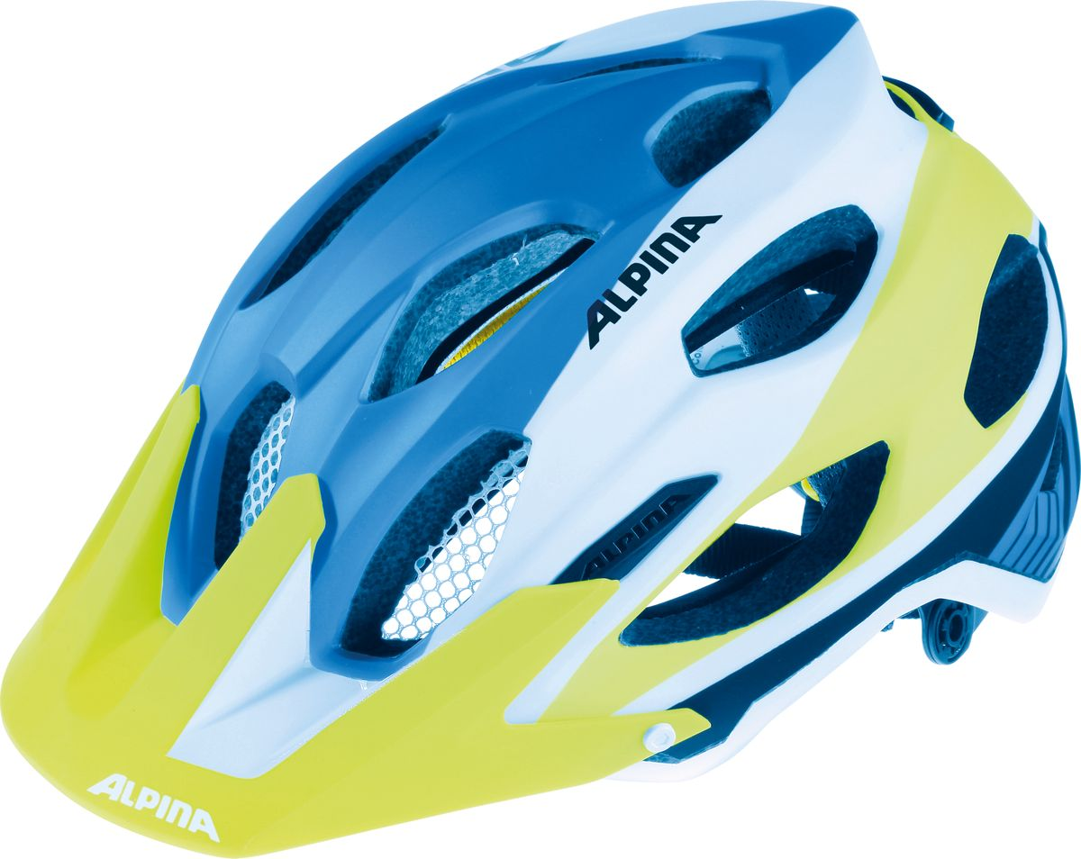 Шлем летний Alpina Carapax, цвет: синий, белый, желтый. Размер 53-57A9688185Легкий и безопасный внедорожный шлем Alpina Carapax. Глубокая посадка, закрывающая затылок, аскетичный дизайн и яркие цвета - все, что вам нужно для эндуро. Технологии: Run System Ergo Pro, Shield Protect Вес: 250 гр.Кол-во вентиляционных отверстий: 17.