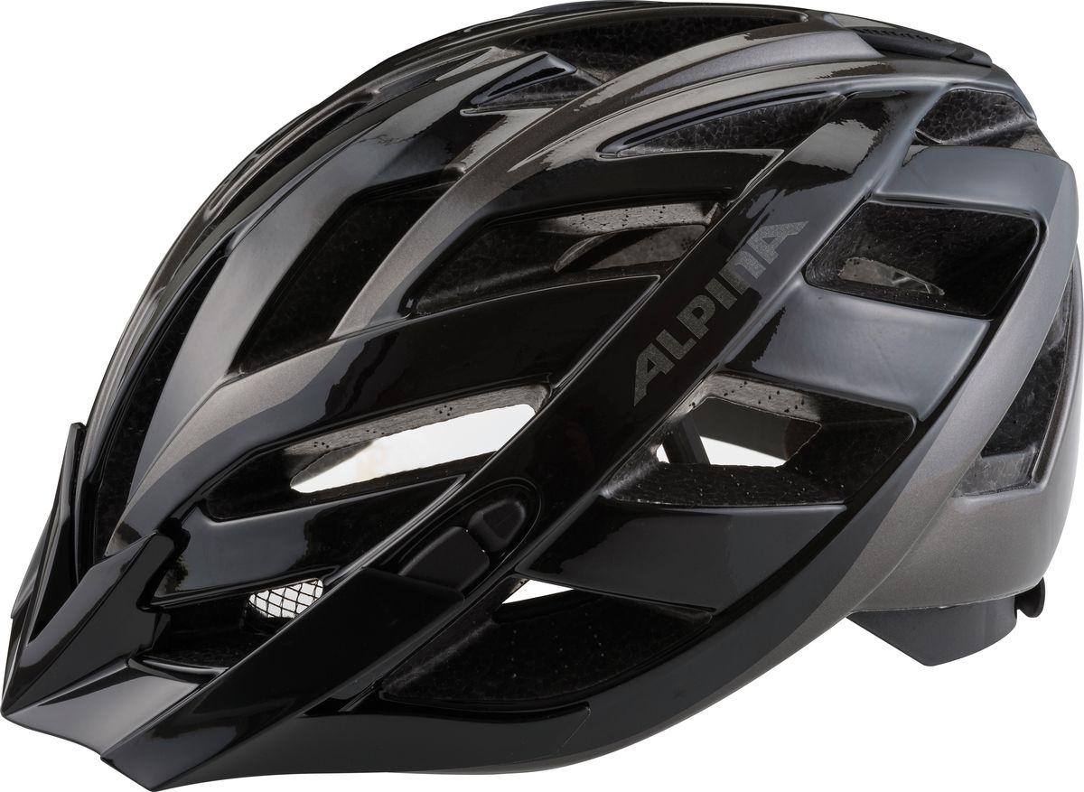 """Шлем летний Alpina """"Panoma Classic""""- это классический универсальный велосипедный шлем с превосходной посадкой. Panoma - верный компаньон в ежедневных поездках до работы и выездов по выходным. 23 вентиляционных отверстия.  Безопасность: Оболочка Inmold  Производственный процесс заключается в нагревании до высокой температуры внешней поликарбонатной оболочки и """"запекании"""" ее на EPS-тело шлема под высоким давлением. Этот процесс создает неразрывную связь по всей поверхности между внутренней и внешней оболочками, благодаря этому шлем получается не только очень легким, но и чрезвычайно стабильным. Hi-EPS  Внутренняя оболочка выполнена из Hi-EPS (вспениный полистирол). Этот материал состоит из множества микроскопических воздушных камер, которые эффективно поглощают силу удара. Hi-EPS обеспечивает оптимальную защиту в сочетании с экстратонкими стенками. Ceramic  Материал объединяет несколько преимуществ: устойчив к ударам и царапинам, содержит ультрафиолетовые стабилизаторы и антистатичен. Эргономика:  Run System Classic  Если вы используете свой велосипед для того, чтобы съездить по магазинам, вам не нужна сложная система регулировки. Система подгонки Run System Classic отвечает этим требованиям красивым, простым и надежным колесом регулировки. Система Run System Classic проста в использовании и держит шлем надежно, там где он должен быть - на голове. Y-Clip  Шлем может обеспечить правильную защиту, только если он остается на месте в случае удара. Крепление, которое соединяет две полоски под ухом имеет решающее значение в этом случае. Система Y-Clip Alpina гарантирует идеальную подгонку до последнего миллиметра за считанные секунды. Ergomatic  Проверенная бесчисленное количество раз, эта пряжка используется во всех шлемах Alpina. Из особенностей: красная кнопка приводящая в действие механизм автоматической многоступенчатой регулировки. Пряжку можно расстегнуть или застегнуть одной рукой, так, например, вы можете ослабить ремень при езде в гору, и затянуть его снова на спу"""