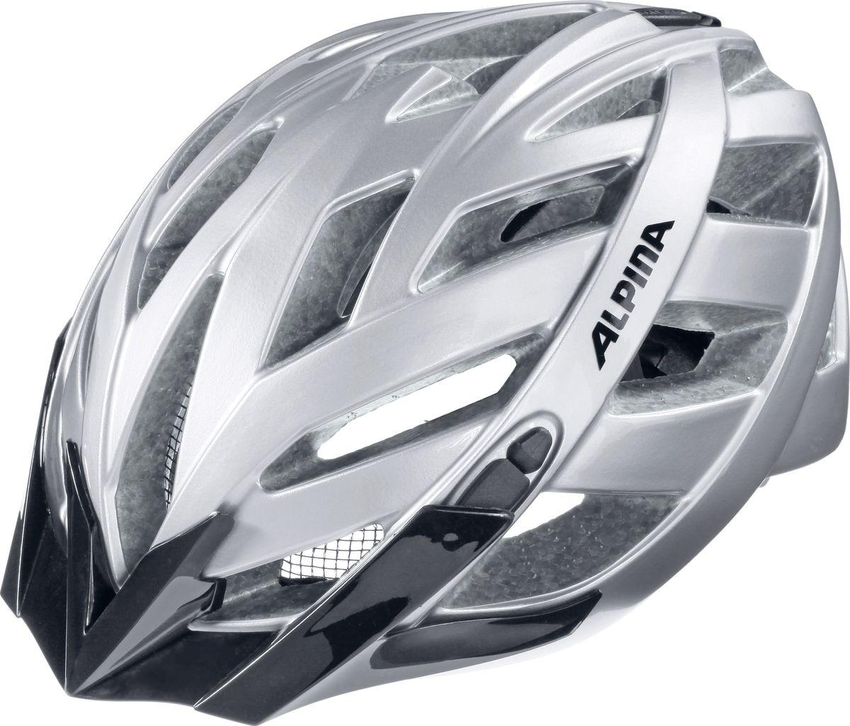 """Шлем летний Alpina """"Panoma Classic""""- это классический универсальный велосипедный шлем с превосходной посадкой. Panoma - верный компаньон в ежедневных поездках до работы и выездов по выходным. 23 вентиляционных отверстия.  Безопасность: Оболочка Inmold  Производственный процесс заключается в нагревании до высокой температуры внешней поликарбонатной оболочки и """"запекании"""" ее на EPS-тело шлема под высоким давлением. Этот процесс создает неразрывную связь по всей поверхности между внутренней и внешней оболочками, благодаря этому шлем получается не только очень легким, но и чрезвычайно стабильным. Hi-EPS  Внутренняя оболочка выполнена из Hi-EPS (вспененный полистирол). Этот материал состоит из множества микроскопических воздушных камер, которые эффективно поглощают силу удара. Hi-EPS обеспечивает оптимальную защиту в сочетании с экстратонкими стенками. Ceramic  Материал объединяет несколько преимуществ: устойчив к ударам и царапинам, содержит ультрафиолетовые стабилизаторы и антистатичен. Эргономика:  Run System Classic  Если вы используете свой велосипед для того, чтобы съездить по магазинам, вам не нужна сложная система регулировки. Система подгонки Run System Classic отвечает этим требованиям красивым, простым и надежным колесом регулировки. Система Run System Classic проста в использовании и держит шлем надежно, там где он должен быть - на голове. Y-Clip  Шлем может обеспечить правильную защиту, только если он остается на месте в случае удара. Крепление, которое соединяет две полоски под ухом имеет решающее значение в этом случае. Система Y-Clip Alpina гарантирует идеальную подгонку до последнего миллиметра за считанные секунды. Ergomatic  Проверенная бесчисленное количество раз, эта пряжка используется во всех шлемах Alpina. Из особенностей: красная кнопка приводящая в действие механизм автоматической многоступенчатой регулировки. Пряжку можно расстегнуть или застегнуть одной рукой, так, например, вы можете ослабить ремень при езде в гору, и затянуть его снова на сп"""