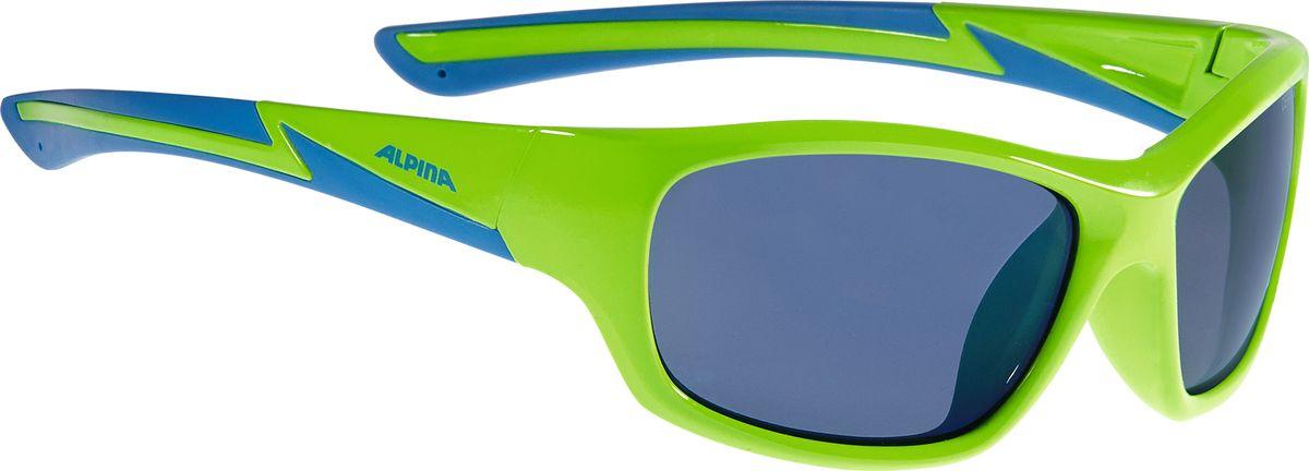 Очки солнцезащитные Alpina Flexxy Youth, детские, цвет: салатовый, синий. A8564371A8564371Детские солнцезащитные очки Alpina Flexxy Youth с устойчивыми к разбиванию линзами выполнены из пластика и предназначены как для езды на велосипеде, так и для многих других видов спорта.Линзы обеспечивают управление воздушными потоками, ветер не попадает в глаза во время гонок, а также предотвращают запотевание и защищают от ультрафиолетовых излучений.