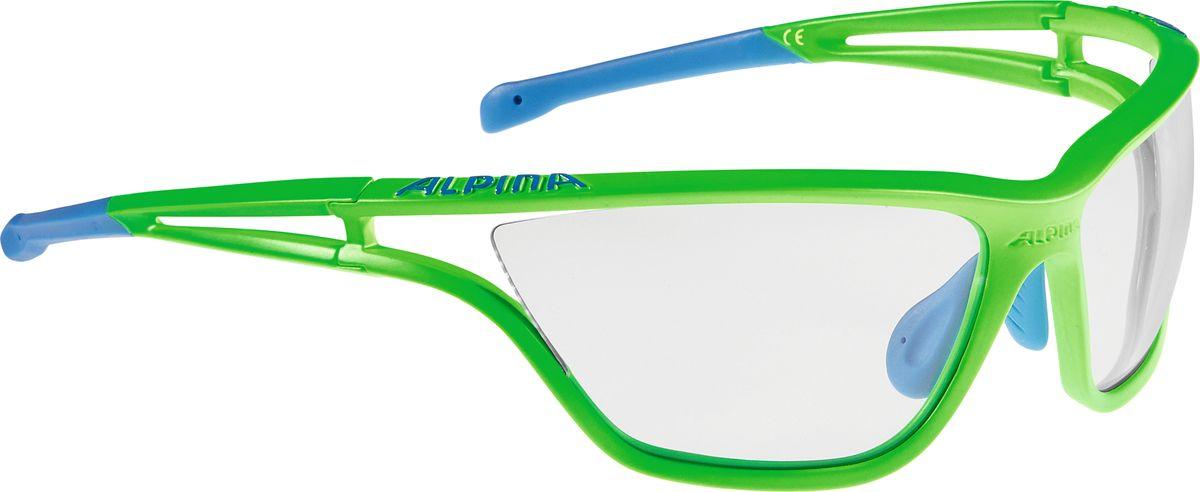 Очки солнцезащитные Alpina Eye-5 VL+, цвет: салатовый, синий. A8532177A8532177Солнцезащитные очки Alpina Eye-5 VL+, выполненные из пластика, предназначены как для езды на велосипеде, так и для многих других видов спорта. Большие изогнутые линзы высокого качества обеспечивают управление воздушными потоками, ветер не попадает в глаза во время гонок, а также предотвращают запотевание и защищают от ультрафиолетовых излучений. Технология Cold Flex не позволяет деформироваться при холодной температуре.