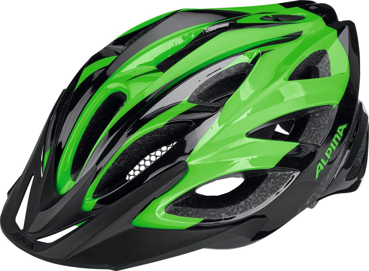 Шлем летний Alpina Seheos, цвет: зеленый, черный. Размер 51-56A9714130Alpina Seheos - это правильный комфортный шлем для велотуризма. Удобная мягкая регулировка размера.