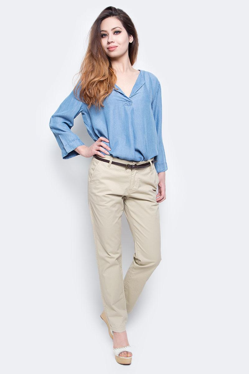 Брюки женские Baon, цвет: бежевый. B297045_Muscovite. Размер L (48)B297045_MuscoviteСтильные женские брюки Baon выполнены из эластичного хлопка. Модель чинос стандартной посадки застегивается на ширинку с застежкой-молнией, а также на пуговицу в поясе. Брюки оснащены двумя боковыми карманами спереди и двумя втачными карманами сзади. В комплекте тонкий ремешок из искусственной кожи.Модные брюки помогут создать эффектный образ.