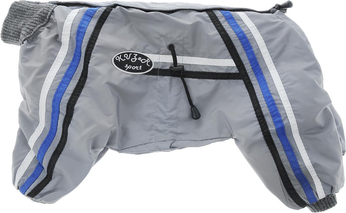Комбинезон для собак Kuzer-Moda Спринт, унисекс, двухслойный, цвет: серый. Размер 27 (L)KZ002028_серыйКомбинезон Kuzer-Moda Спринт предназначен для собак мелких пород. Изделие отлично подойдет для прогулок в прохладную погоду.Комбинезон изготовлен из прочной ткани, которая сохранит тепло и обеспечит отличный воздухообмен. Комбинезон застегивается на кнопки и липучки, благодаря чему его легко надевать и снимать. Ворот, низ рукавов и брючин оснащены резинками, которые мягко обхватывают шею и лапки, не позволяя просачиваться холодному воздуху. На пояснице имеются затягивающиеся шнурки, которые также помогают сохранить тепло. Размер изделия соответствует длине спины животного от начала спины до основания хвоста.Благодаря такому комбинезону простуда не грозит вашему питомцу, и он не даст любимцу продрогнуть на прогулке.Размер: 27 (L).Обхват: груди: 50 см.Обхват шеи: 16 см.Одежда для собак: нужна ли она и как её выбрать. Статья OZON Гид