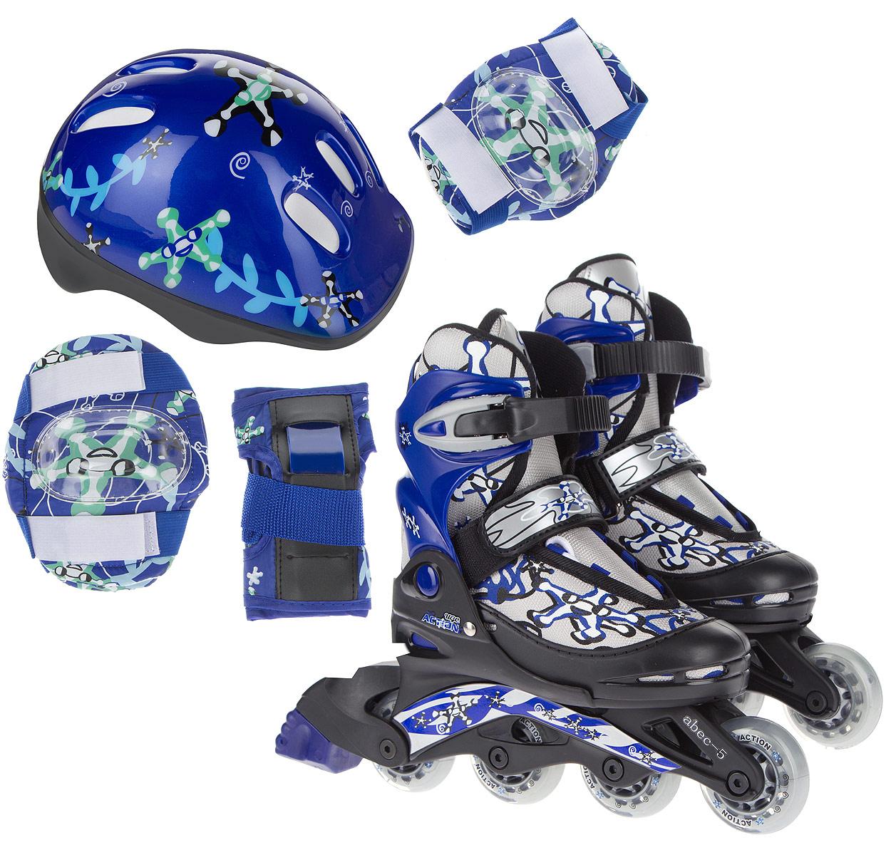 Набор Action: коньки роликовые, защита, шлем, цвет: синий, белый, черный. Размер 30/33. PW-780PW-780Набор для катания на роликах Action состоит из роликовых коньков, защиты (колени, локти, запястья) и шлема. Ботинок конька изготовлен из текстильного материла со вставкам из искусственной кожи, обеспечивающих максимальную вентиляцию ноги. Облегченная конструкция ботинка из пластика обеспечивает улучшенную боковую поддержку и полный контроль над движением. Изделие по верху декорировано оригинальным принтом. Подкладка из мягкого текстиля комфортна при езде. Стелька изготовлена из ЭВА материала с текстильной верхней поверхностью. Классическая шнуровка с ремнем на липучке обеспечивает плотное закрепление пятки. На голенище модель фиксируется клипсой с фиксатором. Прочная рама из полипропилена отлично передает усилие ноги и позволяет быстро разгоняться. Полиуретановые колеса обеспечат плавное и бесшумное движение. Износостойкие подшипники класса ABEC-5 наименее восприимчивы к попаданию влаги и песка. Задник оснащен широкой текстильной петлей, благодаря которой изделие удобно обувать.Верх шлема, оформленный ярким принтом, выполнен из поливинилхлорида, внутренняя часть - из пенополистирола. Отверстия предназначены для лучшей вентиляции. В комплект входят элементы защиты локтей, коленей и запястий. Основание выполнено из нейлона. Защитные накладки у подлокотников и наколенников исполнены из поливинилхлорида, а защитные накладки для запястий - из искусственной кожи и поливинилхлорида.Набор изначально выполнен в одной стилистике и прекрасно смотрится как целиком, так и по отдельности. Кроме того, вам не придется искать сумку для переноски и хранения - набор уже поставляется в специальном рюкзачке из цветной ткани с демонстрационным окошком, который выполнен из нейлоновой сетки.В комплект входят два угловых шестигранных ключа.