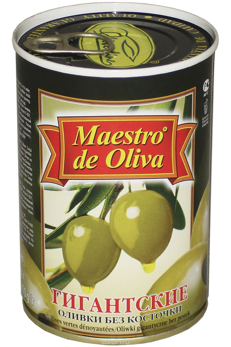 Maestro de Oliva оливки гигантские без косточки, 420 г maestro de oliva оливки крупные с косточкой 350 г