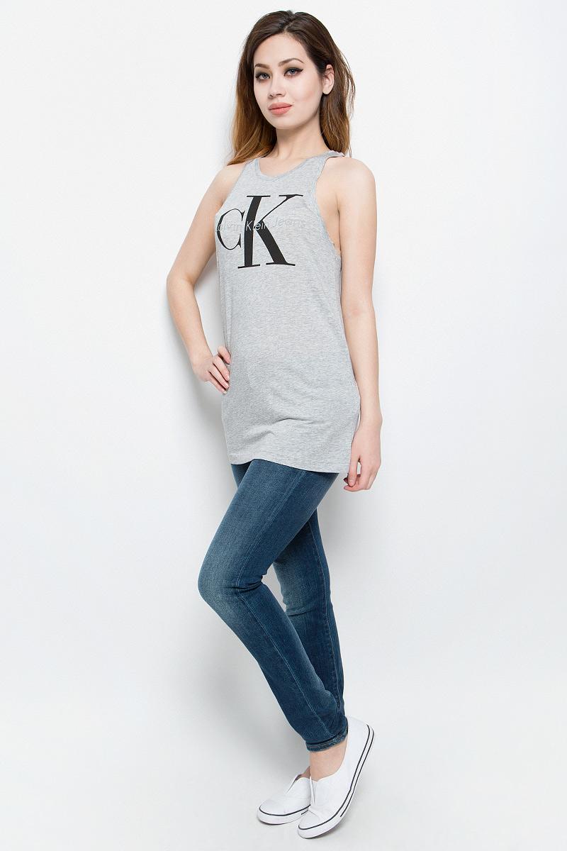 Майка женская Calvin Klein Jeans, цвет: серый меланж. J20J204862. Размер S (42/44) футболка женская calvin klein jeans цвет белый j20j206120 1120 размер s 42 44