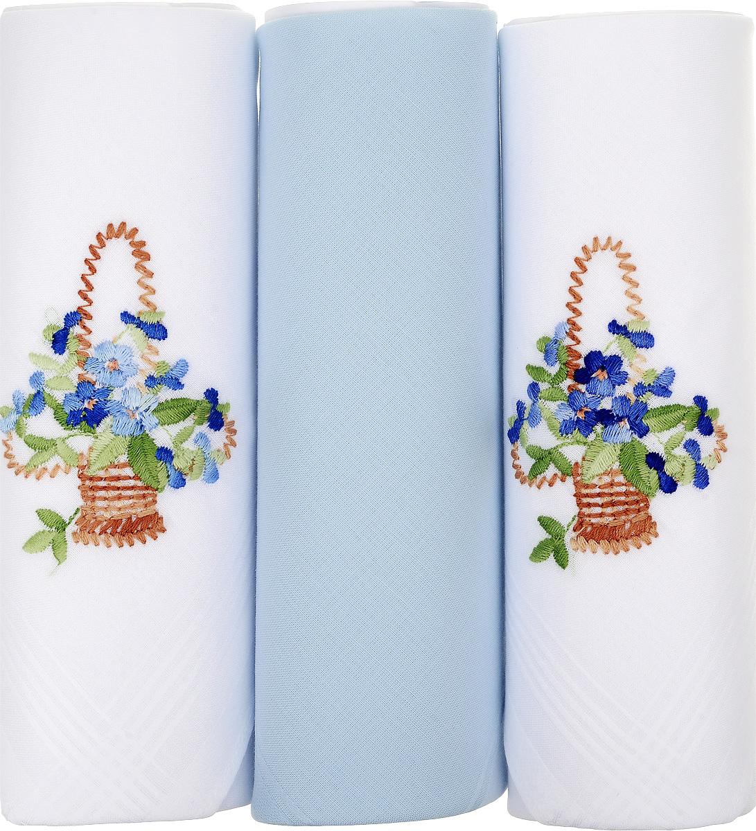 Платок носовой женский Zlata Korunka, цвет: белый, голубой, 3 шт. 25605-4. Размер 30 см х 30 см