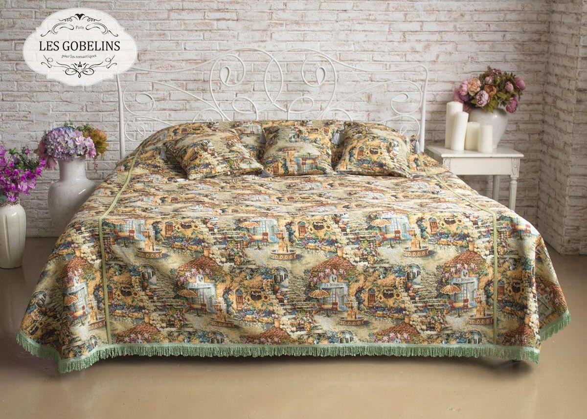 Покрывало на кровать Les Gobelins Jardin DEden, 240 х 220 смlns184194Покрывало на кровать Les Gobelins Jardin DEden с ярким рисунком привлечет к себе внимание и органично впишется в интерьер комнаты. Изделие изготовлено из высококачественной ткани гобелен и оформлено бахромой и кисточками. Необычайная красота сочетается в этом покрывале с высокой прочностью и долговечностью, а свойство гобелена по-разному проявлять себя в зависимости от освещения помещения позволяет открывать все новые и новые детали, которые, как казалось, раньше скрывал гобелен. Красочное и приятное на ощупь покрывало сделает интерьер спальни, детской или гостиной уютнее и своеобразнее.Состав материала: 49% хлопок, 51% полиэстер.