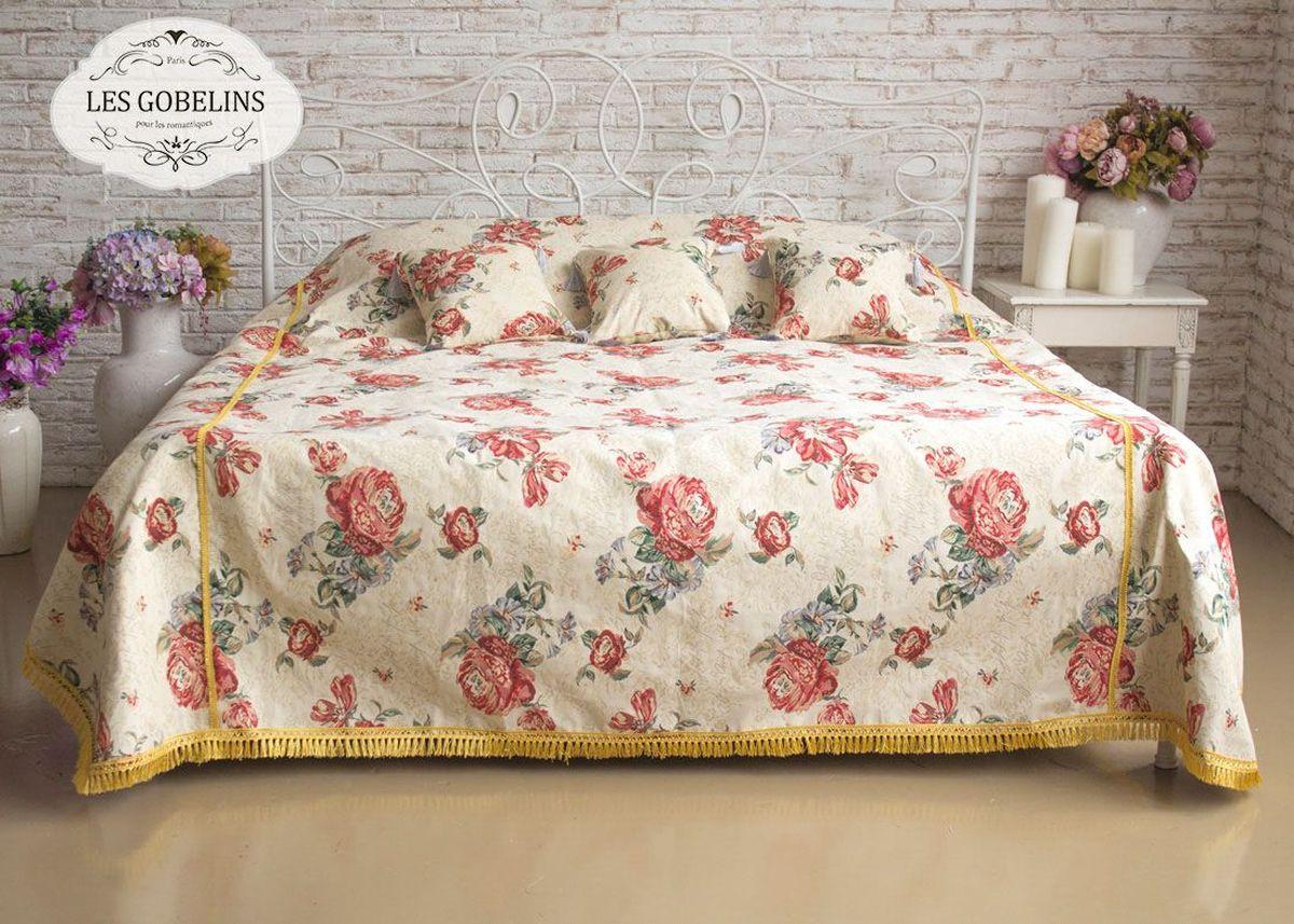 Покрывало на кровать Les Gobelins Cleopatra, 260 х 240 смlns184228Покрывало на кровать Les Gobelins Cleopatra с ярким цветочным рисунком привлечет к себе внимание и органично впишется в интерьер комнаты. Изделие изготовлено из высококачественной ткани гобелен и оформлено бахромой и кисточками. Необычайная красота сочетается в этом покрывале с высокой прочностью и долговечностью, а свойство гобелена по-разному проявлять себя в зависимости от освещения помещения позволяет открывать все новые и новые детали, которые, как казалось, раньше скрывал гобелен.Красочное и приятное на ощупь покрывало сделает интерьер спальни, детской или гостиной уютнее и своеобразнее. Состав материала: 52% хлопок, 48% полиэстер.
