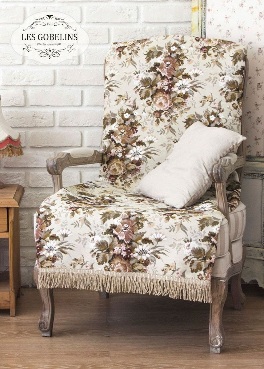 Покрывало на кресло Les Gobelins Terrain Russe, 50 х 120 смlns184941Покрывало на кресло Les Gobelins Terrain Russe с ярким цветочным рисунком привлечет к себе внимание и органично впишется в интерьер комнаты. Изделие изготовлено из высококачественной ткани гобелен и оформлено бахромой и кисточками. Необычайная красота сочетается в этом покрывале с высокой прочностью и долговечностью, а свойство гобелена по-разному проявлять себя в зависимости от освещения помещения позволяет открывать все новые и новые детали, которые, как казалось, раньше скрывал гобелен.Красочное и приятное на ощупь покрывало сделает интерьер спальни, детской или гостиной уютнее и своеобразнее. Состав материала: 5% хлопок, 95% полиэстер.