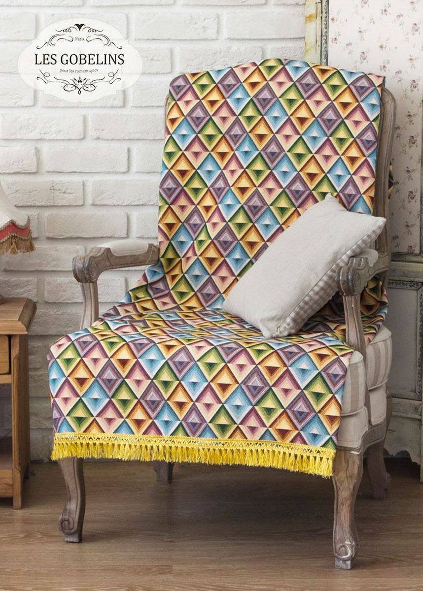Покрывало на кресло Les Gobelins Kaleidoscope, 50 х 120 смlns185043Покрывало на кресло Les Gobelins Kaleidoscope с ярким геометрическим рисунком привлечет к себе внимание и органично впишется в интерьер комнаты. Изделие изготовлено из высококачественной ткани гобелен и оформлено бахромой и кисточками. Необычайная красота сочетается в этом покрывале с высокой прочностью и долговечностью, а свойство гобелена по-разному проявлять себя в зависимости от освещения помещения позволяет открывать все новые и новые детали, которые, как казалось, раньше скрывал гобелен.Красочное и приятное на ощупь покрывало сделает интерьер спальни, детской или гостиной уютнее и своеобразнее. Состав материала: 50% хлопок, 50% полиэстер.