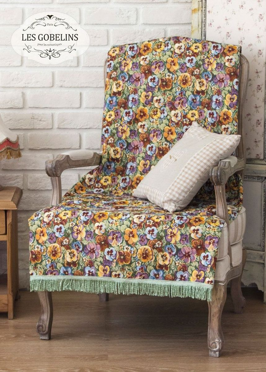 Покрывало на кресло Les Gobelins Fleurs De Jardin, 50 х 120 см покрывало на кресло les gobelins il aime degouts 50 х 120 см