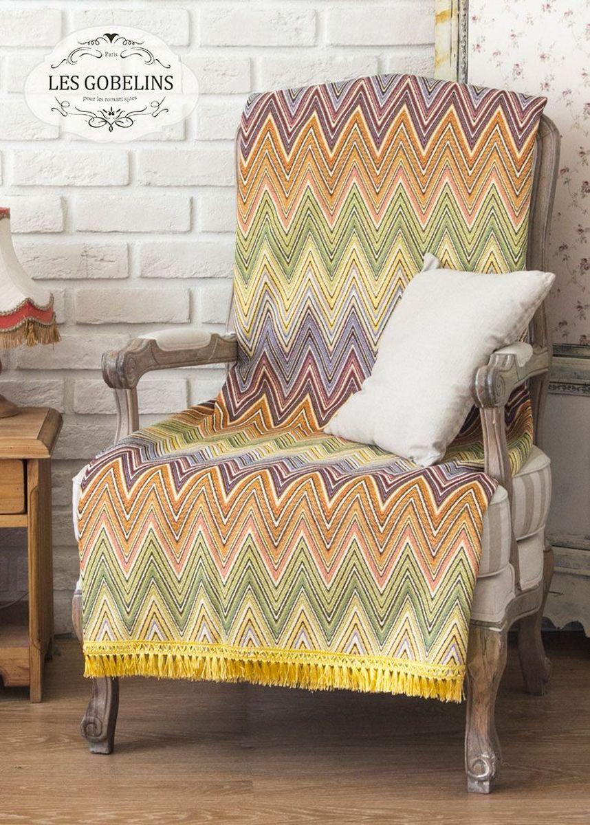 Покрывало на кресло Les Gobelins Cordillere, 50 х 120 смlns185509Покрывало на кресло Les Gobelins Cordillere с ярким геометрическим рисунком привлечет к себе внимание и органично впишется в интерьер комнаты. Изделие изготовлено из высококачественной ткани гобелен и оформлено бахромой и кисточками. Необычайная красота сочетается в этом покрывале с высокой прочностью и долговечностью, а свойство гобелена по-разному проявлять себя в зависимости от освещения помещения позволяет открывать все новые и новые детали, которые, как казалось, раньше скрывал гобелен.Красочное и приятное на ощупь покрывало сделает интерьер спальни, детской или гостиной уютнее и своеобразнее. Состав материала: 5% хлопок, 95% полиэстер.