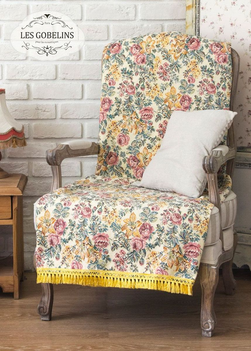 Покрывало на кресло Les Gobelins Arrangement De Fleurs, цвет: бежевый, 50 х 120 см покрывало на кресло les gobelins pivoines aquarelles 50 х 120 см