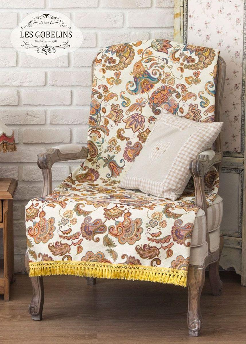 Покрывало на кресло Les Gobelins Ete Indien, 50 х 120 смlns186673Покрывало на кресло Les Gobelins Ete Indien с ярким орнаментом привлечет к себе внимание и органично впишется в интерьер комнаты. Изделие изготовлено из высококачественной ткани гобелен и оформлено бахромой и кисточками. Необычайная красота сочетается в этом покрывале с высокой прочностью и долговечностью, а свойство гобелена по-разному проявлять себя в зависимости от освещения помещения позволяет открывать все новые и новые детали, которые, как казалось, раньше скрывал гобелен.Красочное и приятное на ощупь покрывало сделает интерьер спальни, детской или гостиной уютнее и своеобразнее. Состав материала: 5% хлопок, 95% полиэстер.