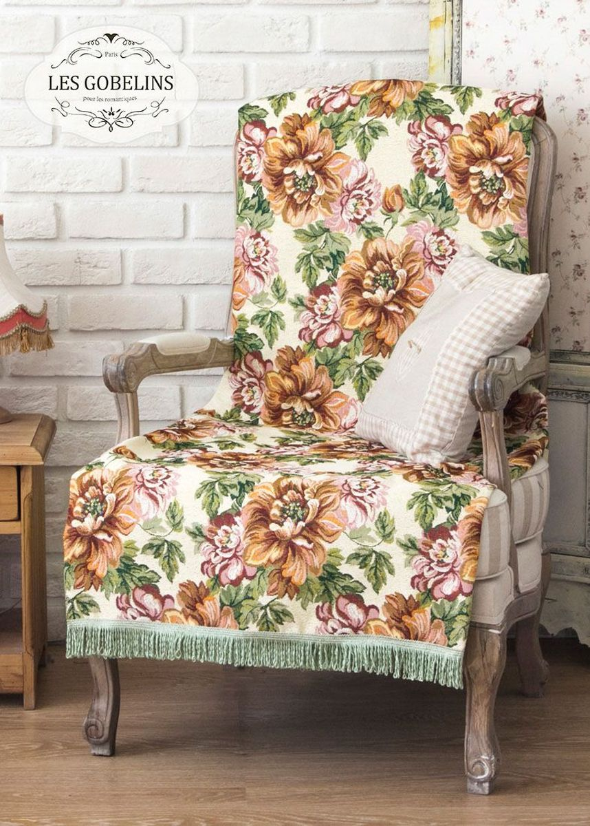 Покрывало на кресло Les Gobelins Pivoines, 50 х 120 смlns186885Покрывало на кресло Les Gobelins Pivoines с ярким цветочным рисунком привлечет к себе внимание и органично впишется в интерьер комнаты. Изделие изготовлено из высококачественной ткани гобелен и оформлено бахромой и кисточками. Необычайная красота сочетается в этом покрывале с высокой прочностью и долговечностью, а свойство гобелена по-разному проявлять себя в зависимости от освещения помещения позволяет открывать все новые и новые детали, которые, как казалось, раньше скрывал гобелен.Красочное и приятное на ощупь покрывало сделает интерьер спальни, детской или гостиной уютнее и своеобразнее. Состав материала: 52% хлопок, 48% полиэстер.