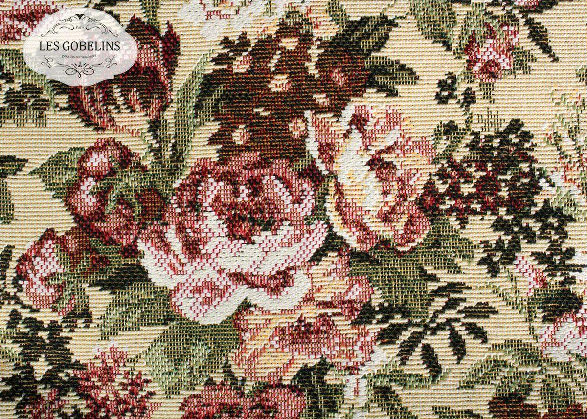 """Покрывало на диван Les Gobelins """"Bouquet Francais"""" с ярким цветочным рисунком привлечет к себе внимание и органично впишется в интерьер комнаты. Изделие изготовлено из высококачественной ткани гобелен и оформлено бахромой и кисточками. Необычайная красота сочетается в этом покрывале с высокой прочностью и долговечностью, а свойство гобелена по-разному проявлять себя в зависимости от освещения помещения позволяет открывать все новые и новые детали, которые, как казалось, раньше скрывал гобелен. Красочное и приятное на ощупь покрывало сделает интерьер спальни, детской или гостиной уютнее и своеобразнее.  Состав материала:  50% хлопок, 50% полиэстер."""