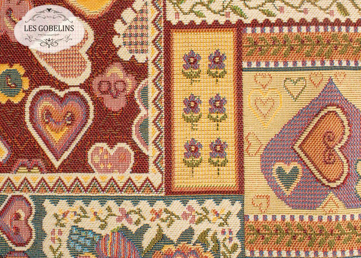 Покрывало на диван Les Gobelins Coeurs Espagnol, 160 х 230 смlns187572Покрывало на диван Les Gobelins Coeurs Espagnol с ярким рисунком привлечет к себе внимание и органично впишется в интерьер комнаты. Изделие изготовлено из высококачественной ткани гобелен и оформлено бахромой и кисточками. Необычайная красота сочетается в этом покрывале с высокой прочностью и долговечностью, а свойство гобелена по-разному проявлять себя в зависимости от освещения помещения позволяет открывать все новые и новые детали, которые, как казалось, раньше скрывал гобелен.Красочное и приятное на ощупь покрывало сделает интерьер спальни, детской или гостиной уютнее и своеобразнее. Состав материала: 52% хлопок, 48% полиэстер.