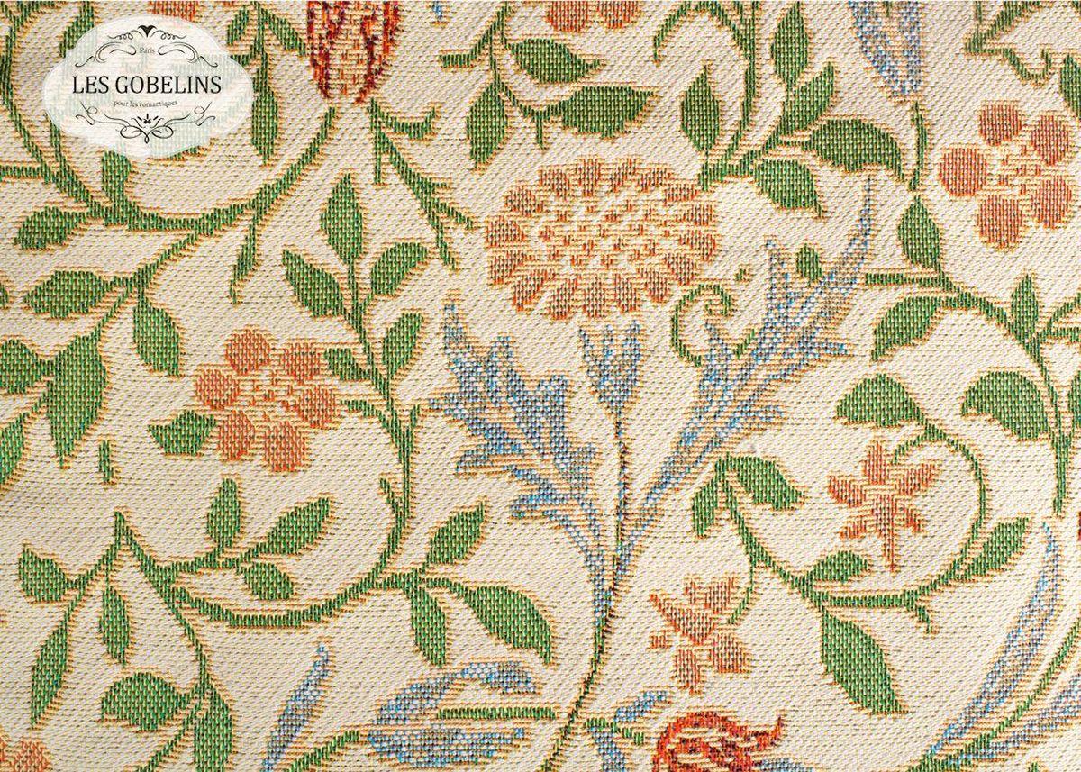 """Покрывало на диван Les Gobelins """"Muse"""" с ярким цветочным рисунком привлечет к себе внимание и органично впишется в интерьер комнаты. Изделие изготовлено из высококачественной ткани гобелен и оформлено бахромой и кисточками. Необычайная красота сочетается в этом покрывале с высокой прочностью и долговечностью, а свойство гобелена по-разному проявлять себя в зависимости от освещения помещения позволяет открывать все новые и новые детали, которые, как казалось, раньше скрывал гобелен. Красочное и приятное на ощупь покрывало сделает интерьер спальни, детской или гостиной уютнее и своеобразнее.  Состав материала:  52% хлопок, 48% полиэстер."""