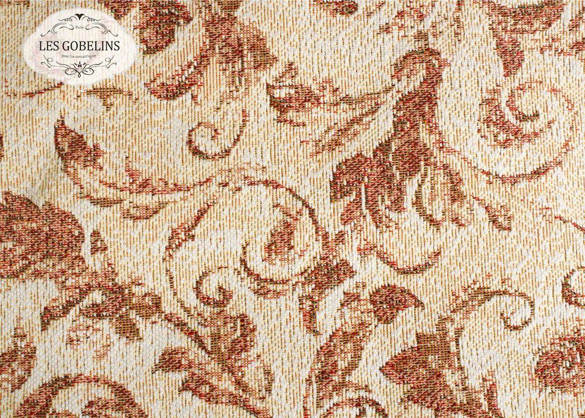 """Покрывало на диван Les Gobelins """"Feuilles Beiges"""" с ярким рисунком привлечет к себе внимание и органично впишется в интерьер комнаты. Изделие изготовлено из высококачественной ткани гобелен и оформлено бахромой и кисточками. Необычайная красота сочетается в этом покрывале с высокой прочностью и долговечностью, а свойство гобелена по-разному проявлять себя в зависимости от освещения помещения позволяет открывать все новые и новые детали, которые, как казалось, раньше скрывал гобелен. Красочное и приятное на ощупь покрывало сделает интерьер спальни, детской или гостиной уютнее и своеобразнее.  Состав материала:  52% хлопок, 48% полиэстер."""