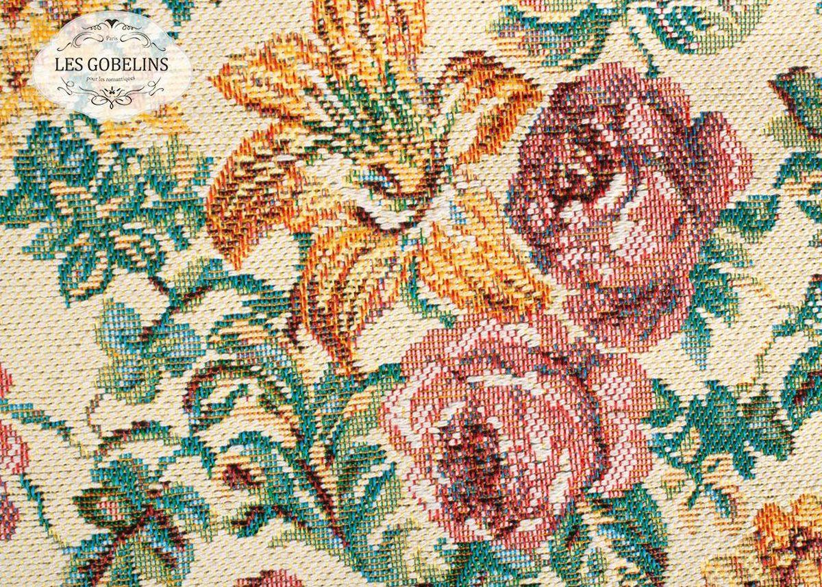 Покрывало на диван Les Gobelins Arrangement De Fleurs, цвет: бежевый, 160 х 230 смlns188132Покрывало на диван Les Gobelins Arrangement De Fleurs с ярким цветочным рисунком привлечет к себе внимание и органично впишется в интерьер комнаты. Изделие изготовлено из высококачественной ткани гобелен и оформлено бахромой и кисточками. Необычайная красота сочетается в этом покрывале с высокой прочностью и долговечностью, а свойство гобелена по-разному проявлять себя в зависимости от освещения помещения позволяет открывать все новые и новые детали, которые, как казалось, раньше скрывал гобелен.Красочное и приятное на ощупь покрывало сделает интерьер спальни, детской или гостиной уютнее и своеобразнее. Состав материала: 52% хлопок, 48% полиэстер.