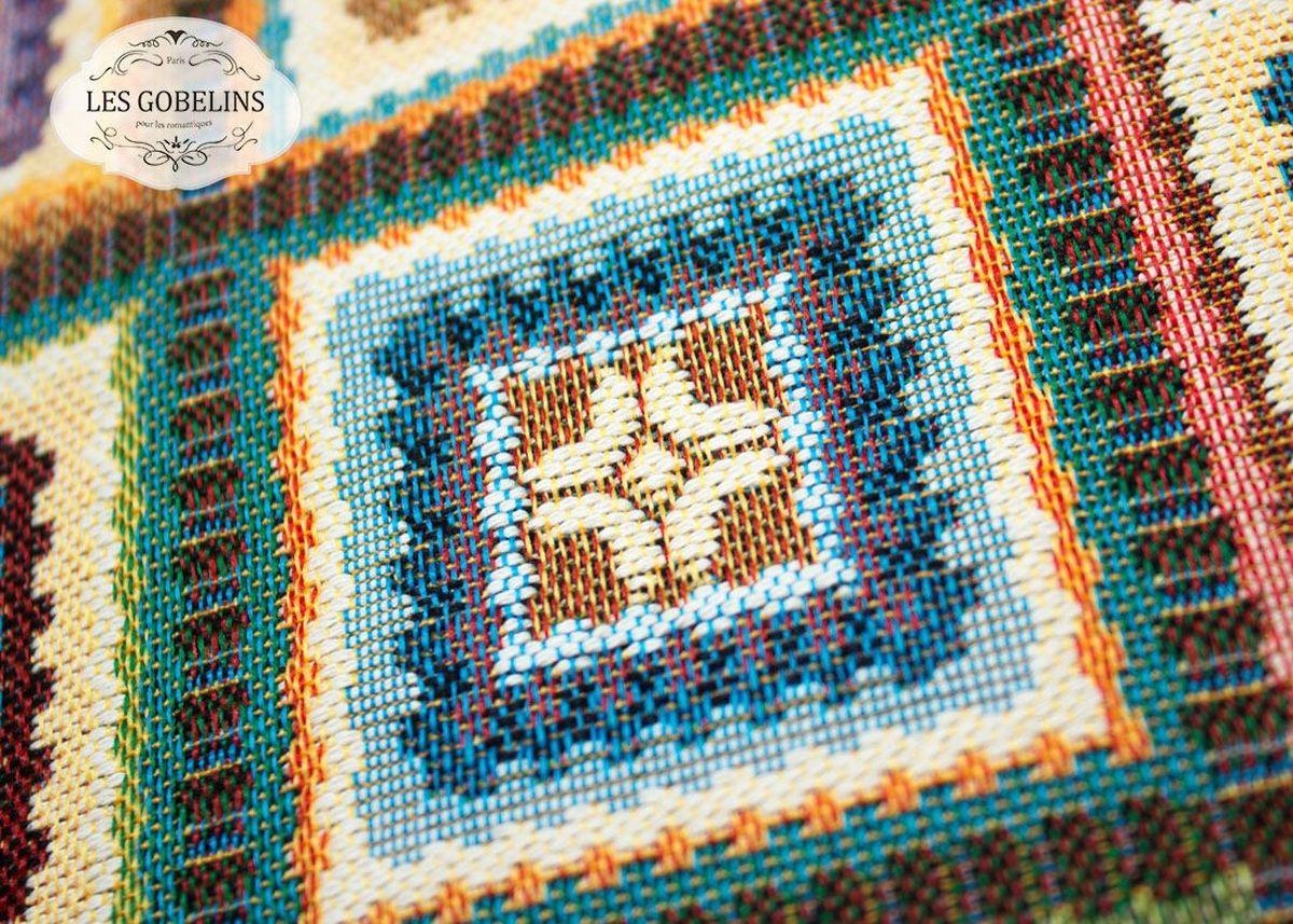 Покрывало на диван Les Gobelins Labyrinthe, 160 х 200 смlns188388Покрывало на диван Les Gobelins Labyrinthe с ярким геометрическим рисунком привлечет к себе внимание и органично впишется в интерьер комнаты. Изделие изготовлено из высококачественной ткани гобелен и оформлено бахромой и кисточками. Необычайная красота сочетается в этом покрывале с высокой прочностью и долговечностью, а свойство гобелена по-разному проявлять себя в зависимости от освещения помещения позволяет открывать все новые и новые детали, которые, как казалось, раньше скрывал гобелен.Красочное и приятное на ощупь покрывало сделает интерьер спальни, детской или гостиной уютнее и своеобразнее. Состав материала: 52% хлопок, 48% полиэстер.
