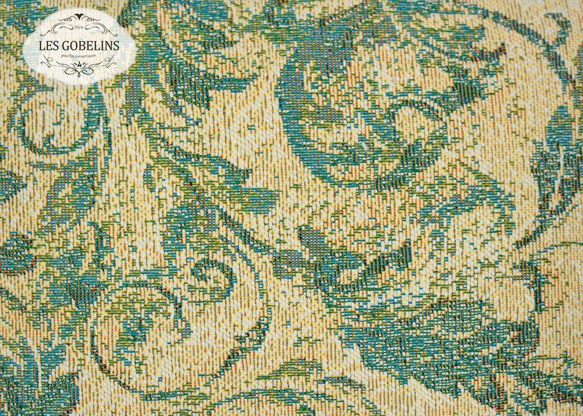 """Покрывало на диван Les Gobelins """"Jeune Verdure"""" с ярким рисунком привлечет к себе внимание и органично впишется в интерьер комнаты. Изделие изготовлено из высококачественной ткани гобелен и оформлено бахромой и кисточками. Необычайная красота сочетается в этом покрывале с высокой прочностью и долговечностью, а свойство гобелена по-разному проявлять себя в зависимости от освещения помещения позволяет открывать все новые и новые детали, которые, как казалось, раньше скрывал гобелен. Красочное и приятное на ощупь покрывало сделает интерьер спальни, детской или гостиной уютнее и своеобразнее.  Состав материала:  52% хлопок, 48% полиэстер."""