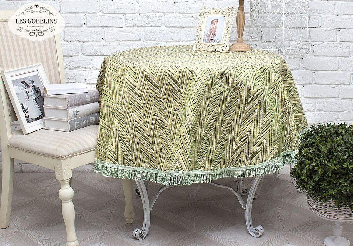 Скатерть Les Gobelins Zigzag, круглая, цвет: зеленый, диаметр 160 см покрывало les gobelins накидка на кресло zigzag 70х190 см