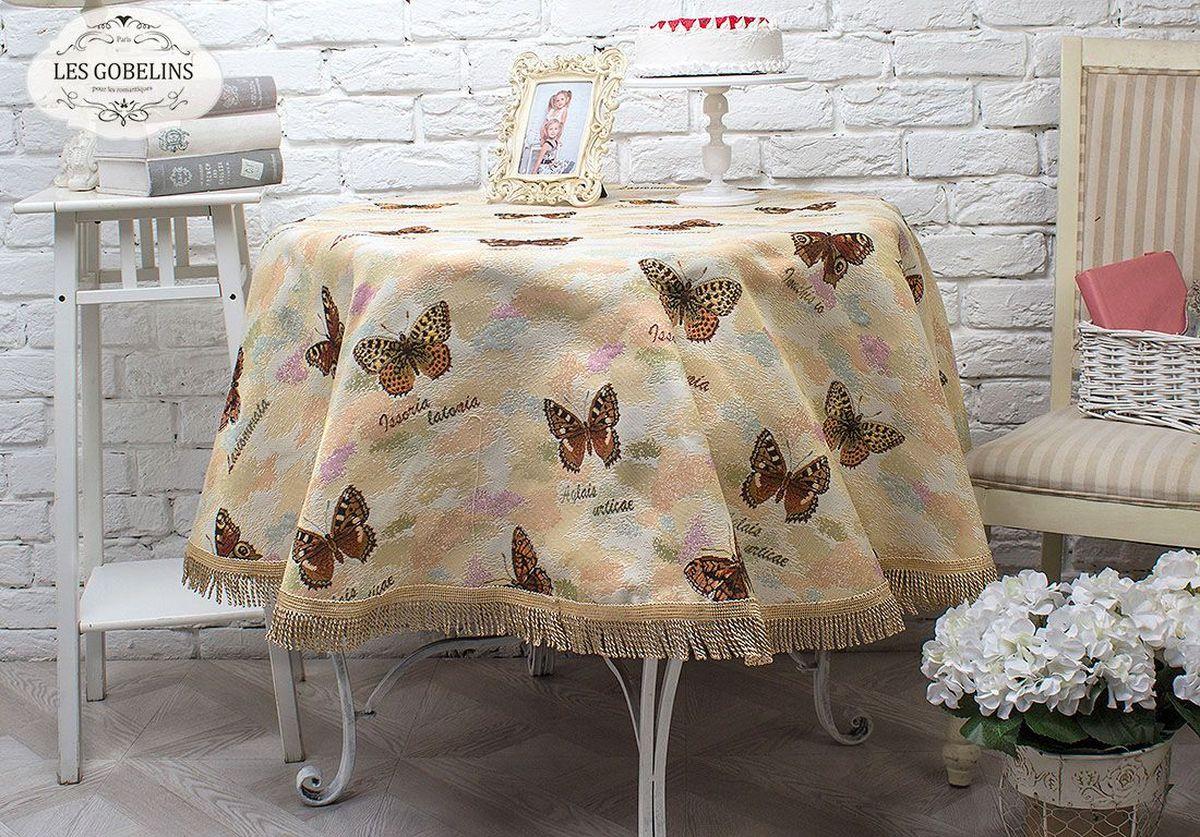 """Круглая скатерть Les Gobelins """"Papillons"""" выполнена из гобелена: 50% хлопка и  50% полиэстера. По краю украшена бахромой. Использование такой скатерти сделает застолье  торжественным. Расположение рисунка на скатерти соответствует фотографии."""