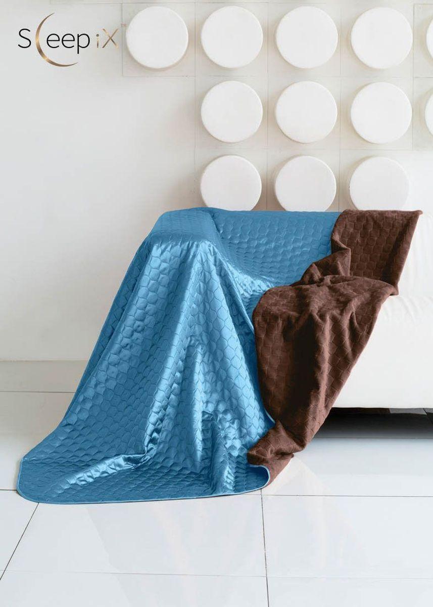 Покрывало Sleep iX Shinen Soft, цвет: коричневый, темно-голубой, 180 х 220 смmaa214806Общий размер: двуспальный.Размер покрывала: 180х220 см.Материал: Искусственный мех, Атласный шелк.Длина ворса: Короткий.Наполнитель: Синтепон.Состав: 100% полиэстер.Отделка: Кант, Стежка.Особенность: Двухсторонний.