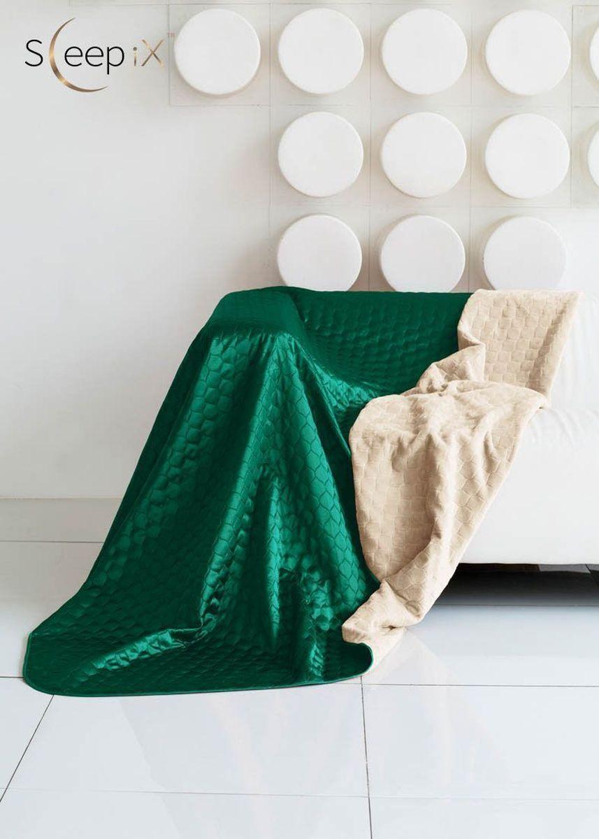 Покрывало Sleep iX Shinen Soft, цвет: молочный, зеленый, 220 х 240 смmaa214829Общий размер: евро макси. Размер покрывала: 220х240 см. Материал: Искусственный мех, Атласный шелк. Длина ворса: Короткий. Наполнитель: Синтепон. Состав: 100% полиэстер. Отделка: Кант, Стежка. Особенность: Двухсторонний.