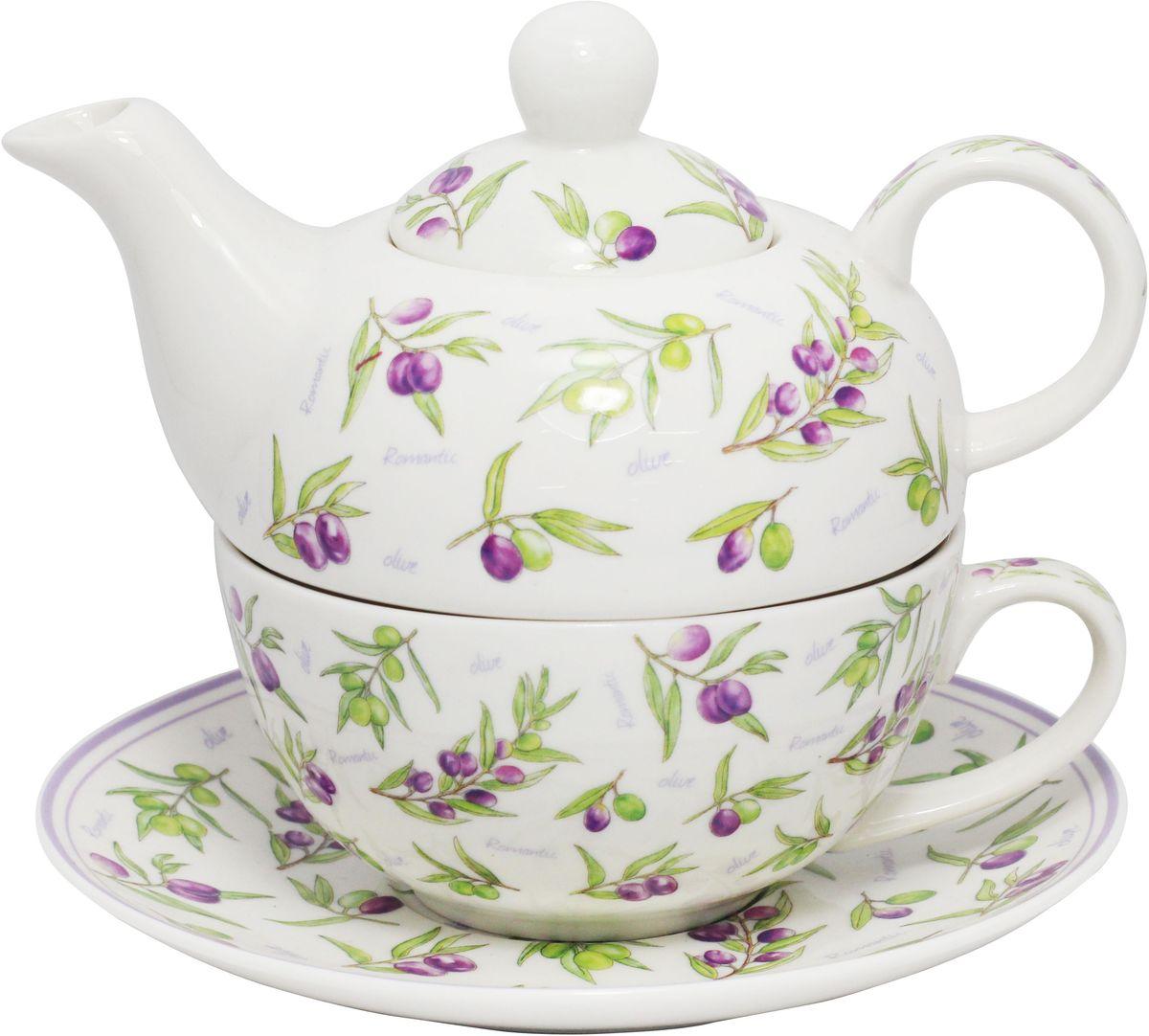"""Чайный набор JEWEL """"Оливки"""" изготовлен из высококачественного фарфора. Набор состоит из чайника, чашки и блюдца. Изделия украшены изящным рисунком и придутся по вкусу как ценителям классики, так и тем кто предпочитает современный стиль.Объем чайника: 400 мл.Объем чашки: 300 мл.Диаметр блюдца: 16,7 см."""